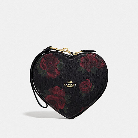 COACH HEART WRISTLET WITH JUMBO FLORAL PRINT - BLACK MULTI/BLACK/IMITATION GOLD - F55624