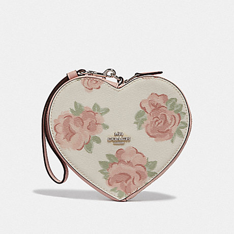 COACH HEART WRISTLET WITH JUMBO FLORAL PRINT - CHALK/PETAL MULTI/SILVER - F55624