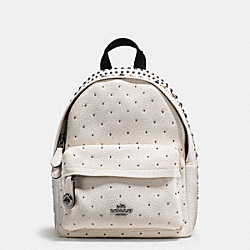 COACH MINI CAMPUS BACKPACK IN PEBBLE LEATHER WITH BANDANA RIVETS - DARK GUNMETAL/CHALK - F55628