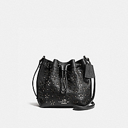 COACH MINI DRAWSTRING SHOULDER BAG WITH FLORAL STUDS - ANTIQUE NICKEL/BLACK - F55630