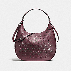 COACH HARLEY HOBO WITH FLORAL STUDS - IMITATION GOLD/OXBLOOD 1 - F55632