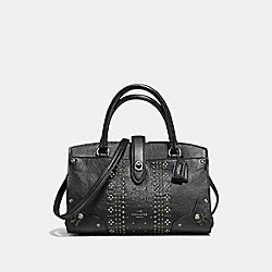MERCER SATCHEL 24 IN GRAIN LEATHER WITH BANDANA RIVETS - f55634 - DARK GUNMETAL/BLACK