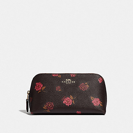 COACH COSMETIC CASE 17 WITH TOSSED PEONY PRINT - OXBLOOD 1 MULTI/IMITATION GOLD - F55637