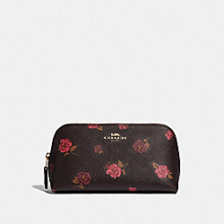 COSMETIC CASE 17 WITH TOSSED PEONY PRINT - OXBLOOD 1 MULTI/IMITATION GOLD - COACH F55637