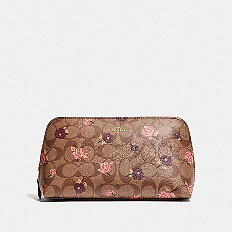 COACH COSMETIC CASE 22 IN SIGNATURE CANVAS WITH TOSSED PEONY PRINT - KHAKI/PINK MULTI/IMITATION GOLD - F55640