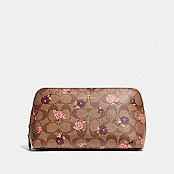 COSMETIC CASE 22 IN SIGNATURE CANVAS WITH TOSSED PEONY PRINT - KHAKI/PINK MULTI/IMITATION GOLD - COACH F55640