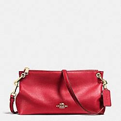 CHARLEY CROSSBODY IN PEBBLE LEATHER - f55661 - IMITATION GOLD/TRUE RED