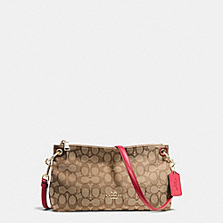 CHARLEY CROSSBODY IN SIGNATURE - f55663 - IMITATION GOLD/KHAKI/TRUE RED