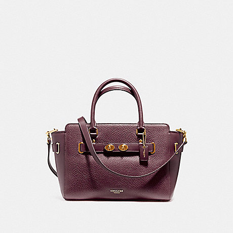COACH f55665 BLAKE CARRYALL 25 IN BUBBLE LEATHER LIGHT GOLD/OXBLOOD 1
