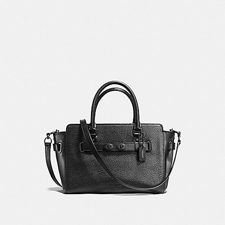 COACH f55665 BLAKE CARRYALL 25 IN BUBBLE LEATHER MATTE BLACK/BLACK