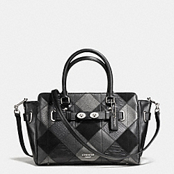 COACH BLAKE CARRYALL 25 IN METALLIC PATCHWORK LEATHER - SILVER/GUNMENTAL BLACK - F55666