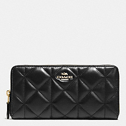 COACH ACCORDION ZIP WALLET IN QUILTED LEATHER - IMITATION GOLD/BLACK - F55672