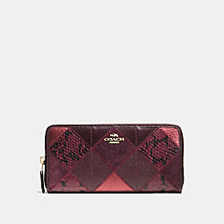COACH ACCORDION ZIP WALLET IN METALLIC PATCHWORK LEATHER - IMITATION GOLD/METALLIC CHERRY - F55674