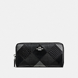 COACH ACCORDION ZIP WALLET IN METALLIC PATCHWORK LEATHER - SILVER/BLACK/GUNMETAL - F55674
