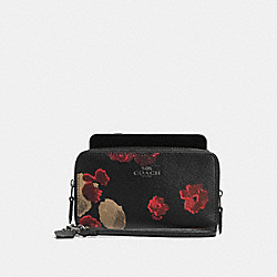 COACH DOUBLE ZIP PHONE WALLET IN HALFTONE FLORAL PRINT COATED CANVAS - ANTIQUE NICKEL/BLACK MULTI - F55676