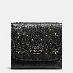 COACH SMALL WALLET IN POLISHED PEBBLE LEATHER WITH BANDANA RIVETS - DARK GUNMETAL/BLACK - F55720