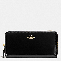 COACH BOXED ACCORDION ZIP WALLET IN SMOOTH PATENT LEATHER - IMITATION GOLD/BLACK - F55734