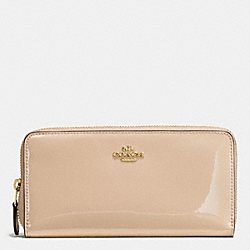 COACH BOXED ACCORDION ZIP WALLET IN SMOOTH PATENT LEATHER - IMITATION GOLD/PLATINUM - F55734