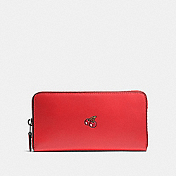 COACH PAC MAN ACCORDION ZIP WALLET IN CALF LEATHER - BLACK ANTIQUE/WATERMELON - F55736