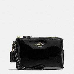 COACH BOXED CORNER ZIP WRISTLET IN SMOOTH PATENT LEATHER - IMITATION GOLD/BLACK - F55739