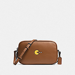 COACH PAC MAN CROSSBODY POUCH IN CALF LEATHER - ANTIQUE NICKEL/SADDLE - F55743