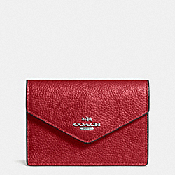 COACH ENVELOPE CARD CASE IN POLISHED PEBBLE LEATHER - SILVER/RED CURRANT - F55749