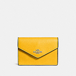 COACH ENVELOPE CARD CASE - YELLOW/SILVER - F55749