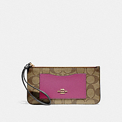 ZIP TOP WALLET IN COLORBLOCK SIGNATURE CANVAS - KHAKI MULTI /IMITATION GOLD - COACH F55762
