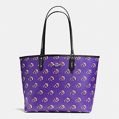 COACH f55866 REVERSIBLE CITY TOTE IN BRAMBLE ROSE FLORAL PRINT CANVAS SILVER/PURPLE MULTI BLACK