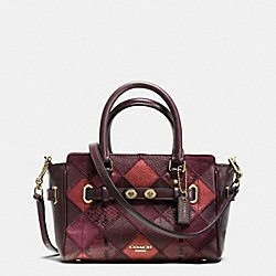 COACH MINI BLAKE CARRYALL IN METALLIC PATCHWORK LEATHER - IMITATION GOLD/METALLIC CHERRY - F55878
