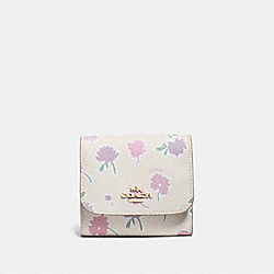 SMALL WALLET IN DAISY FIELD PRINT COATED CANVAS - f55882 - LIGHT GOLD/DAISY FIELD BEECHWOOD MULTI