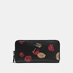 COACH ACCORDION ZIP WALLET IN HALFTONE FLORAL PRINT COATED CANVAS - ANTIQUE NICKEL/BLACK MULTI - F55950