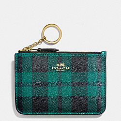COACH KEY POUCH WITH GUSSET IN RILEY PLAID COATED CANVAS - IMITATION GOLD/ATLANTIC MULTI - F55990