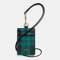 COACH LANYARD ID CASE IN RILEY PLAID PRINT COATED CANVAS - IMITATION GOLD/ATLANTIC MULTI - F55992