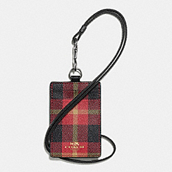 COACH LANYARD ID CASE IN RILEY PLAID PRINT COATED CANVAS - QB/True Red Multi - F55992