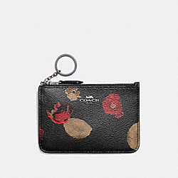 KEY POUCH WITH GUSSET IN HALFTONE FLORAL PRINT COATED CANVAS - f55999 - ANTIQUE NICKEL/BLACK MULTI