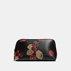 COACH COSMETIC CASE 17 IN HALFTONE FLORAL PRINT COATED CANVAS - ANTIQUE NICKEL/BLACK MULTI - F56001