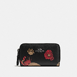 COACH SMALL DOUBLE ZIP COIN CASE IN  HALFTONE FLORAL PRINT COATED CANVAS - ANTIQUE NICKEL/BLACK MULTI - F56002