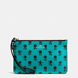 COACH SMALL WRISTLET IN BADLANDS FLORAL PRINT CANVAS - SILVER/TURQUOISE BLACK - F56024