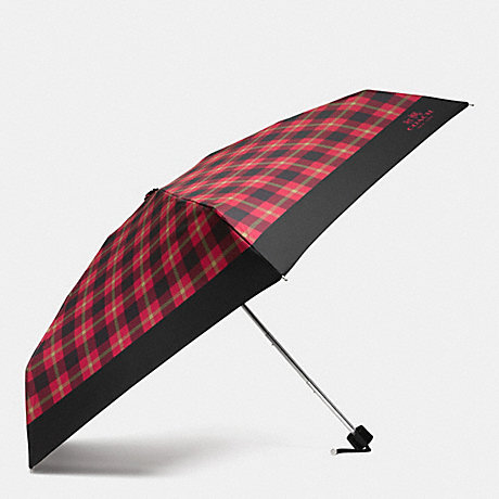 COACH SIGNATURE PLAID MINI UMBRELLA - SILVER/TRUE RED MULTI - f56050