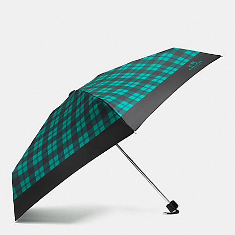 COACH SIGNATURE PLAID MINI UMBRELLA - SILVER/ATLANTIC MULTI - f56050
