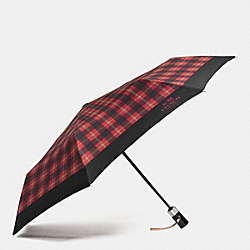 COACH SIGNATURE PLAID UMBRELLA - SILVER/TRUE RED MULTI - F56051