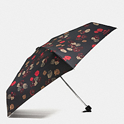 COACH VINTAGE ROSE MINI UMBRELLA - SILVER/BLACK MULTI - F56052