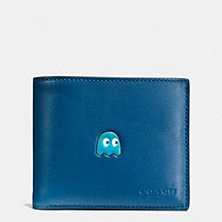 COACH PAC MAN COMPACT ID WALLET IN CALF LEATHER - DENIM - F56054