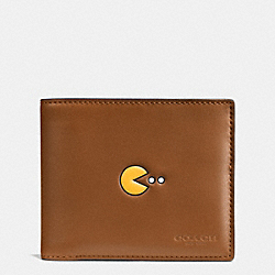 COACH PAC MAN COMPACT ID WALLET IN CALF LEATHER - SADDLE - F56054