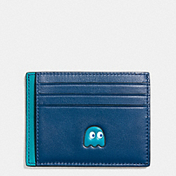 COACH PAC MAN CARD CASE IN CALF LEATHER - DENIM - F56055