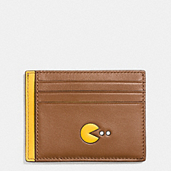 COACH PAC MAN CARD CASE IN CALF LEATHER - SADDLE - F56055