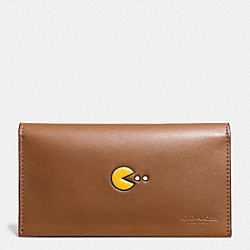 PAC MAN UNIVERSAL PHONE CASE IN CALF LEATHER - f56056 - SADDLE