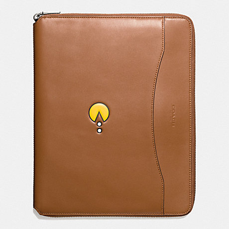 COACH PAC MAN TECH CASE IN LEATHER - SADDLE - f56058