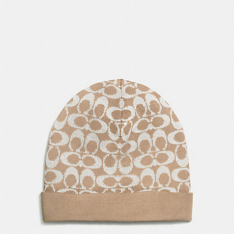 COACH f56123 METALLIC SIGNATURE JACQUARD HAT CAMEL
